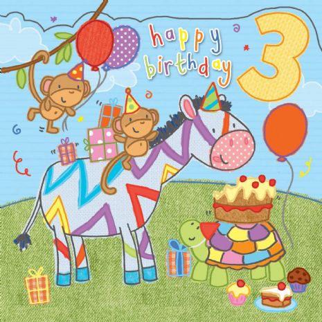 Age 3 Sparkly Birthday Card for Children TW422